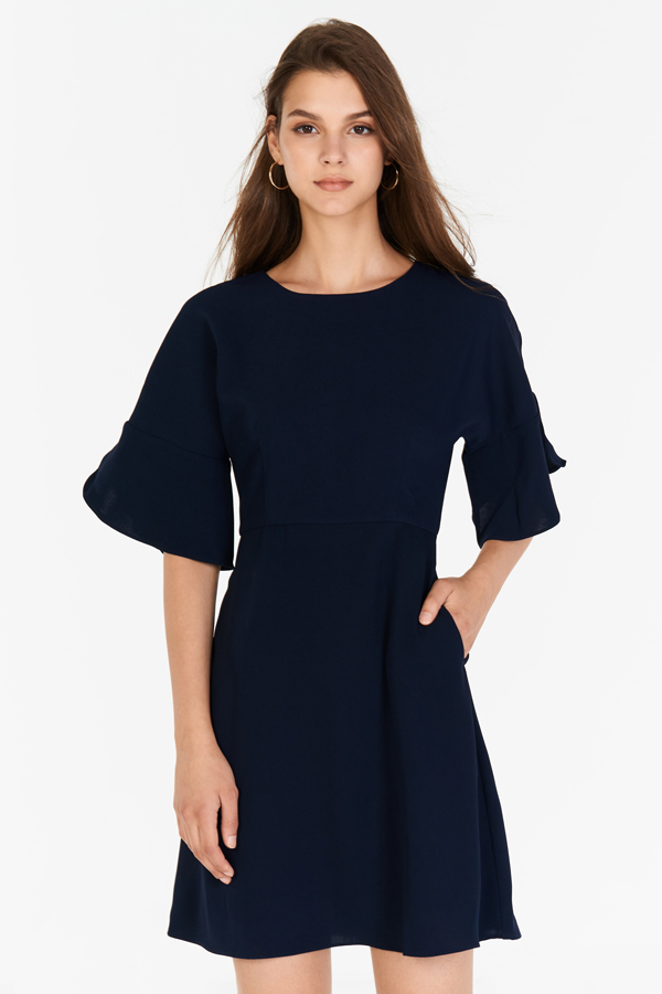 Denize Flutter Sleeve Dress in Navy
