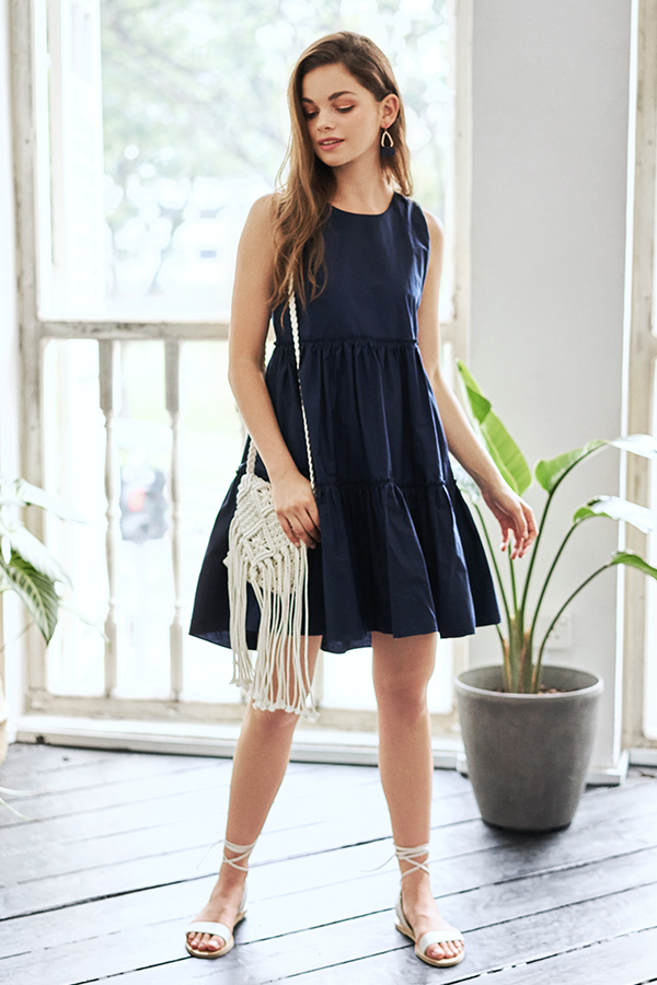 Lorene Dress in Navy