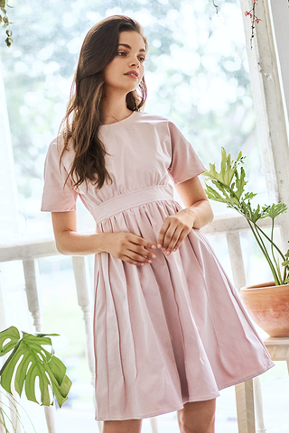 Meagan Pleated Dress in Light Pink