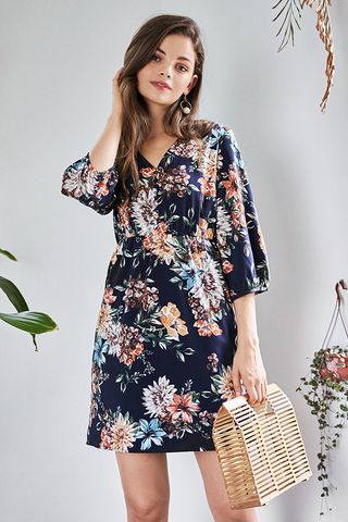 Arabelle Floral Printed Sleeved Dress