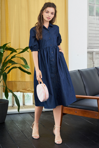 Maddison Denim Sleeved Midi Dress