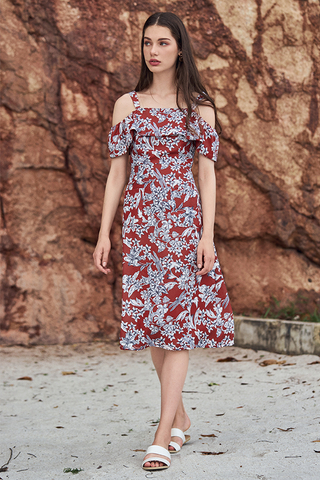 Lorena Floral Printed Midi Dress in Rust