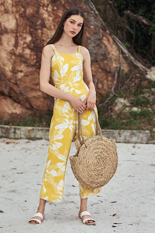 *Restock* Iliana Floral Printed Jumpsuit in Marigold