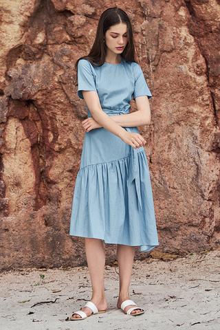 Gadia Denim Midi Dress in Light Wash