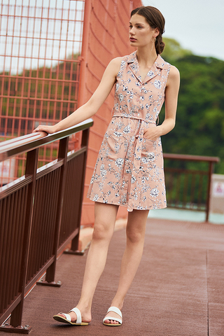 Freya Floral Printed Dress in Pink
