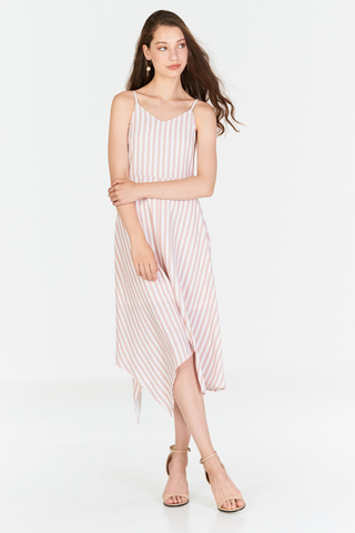 *Restock* Odila Stripes Midi Dress in Pink