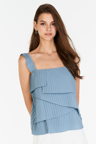 Camelia Pleated Top in Dusty Blue
