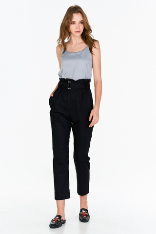 Evon Paperbag Pants in Black