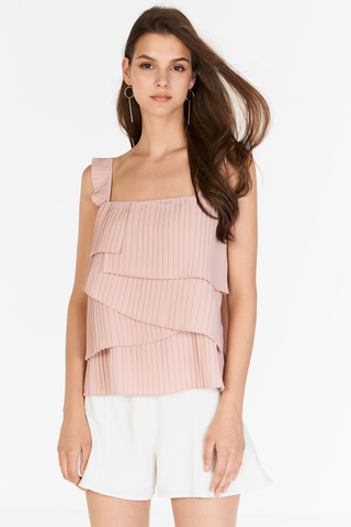 Camelia Pleated Top in Pink