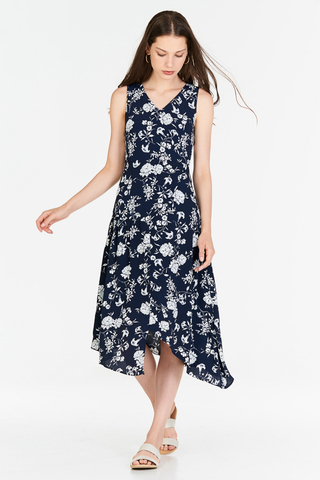 Freya Floral Printed Midi Dress in Navy