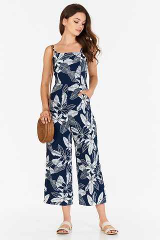 *Restock* Iliana Floral Printed Jumpsuit in Navy