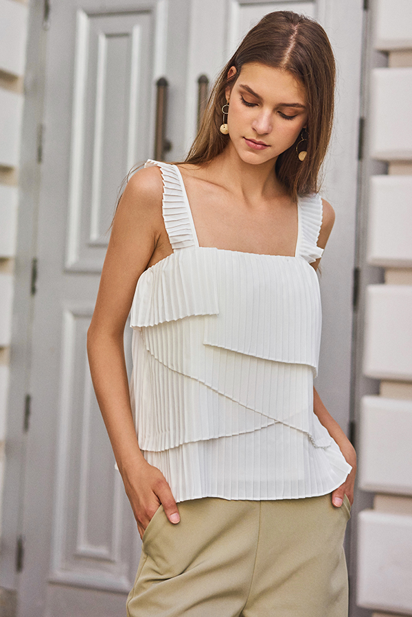 Camelia Pleated Top in White