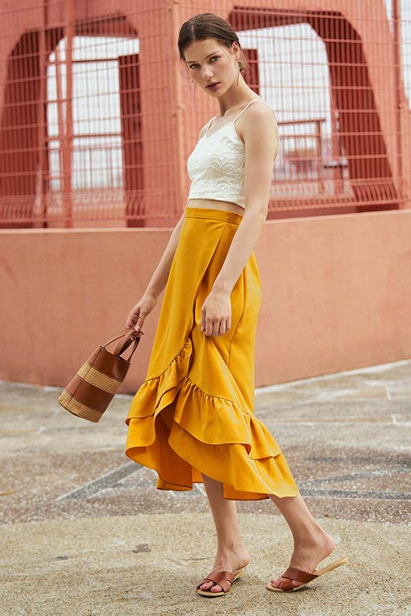 *Restock* Alessia Midi Skirt in Dandelion