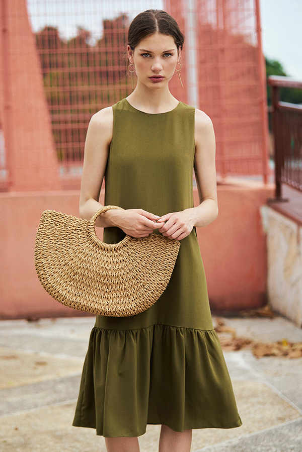 *Backorder* Sheila Midi Dress in Olive