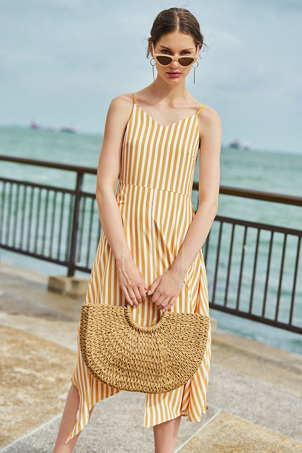 *Restock* Odila Stripes Midi Dress in Dandelion