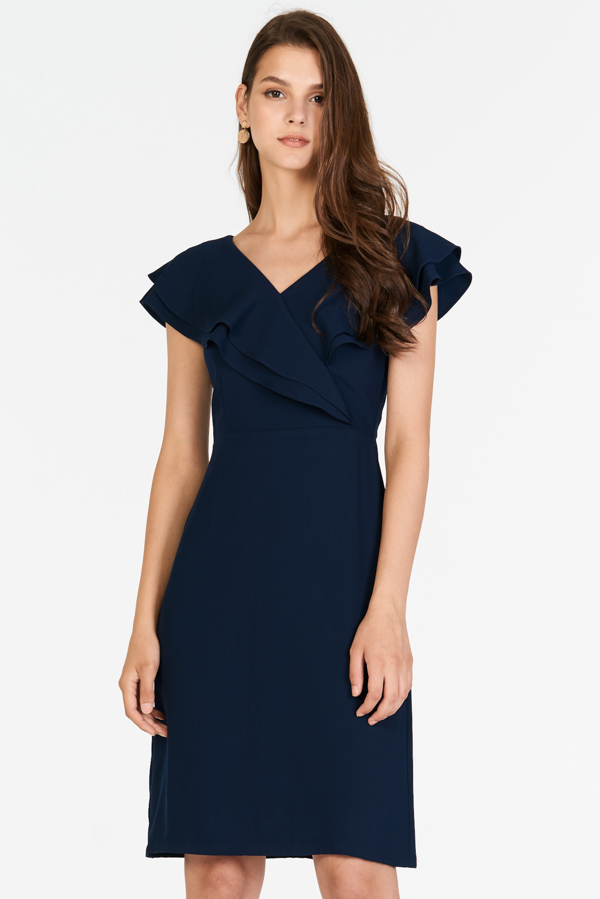 Fenn Ruffled Dress in Navy