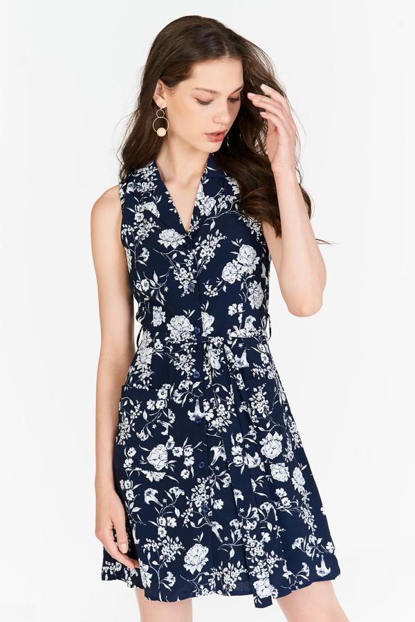 *Pre-order* Freya Floral Printed Dress in Navy