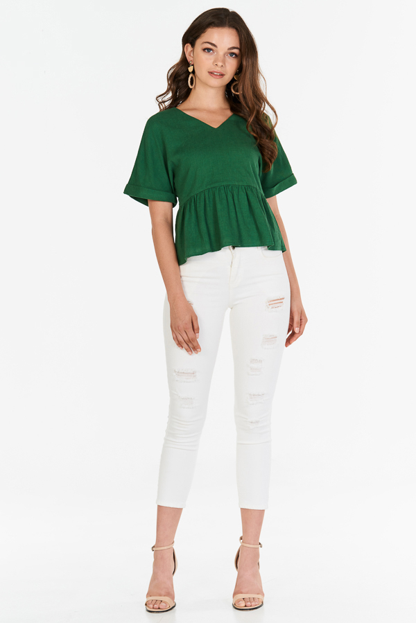 Lea Peplum Top in Green