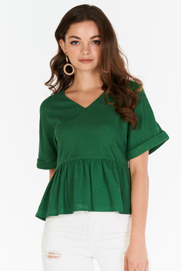 Lea Peplum Top in Green