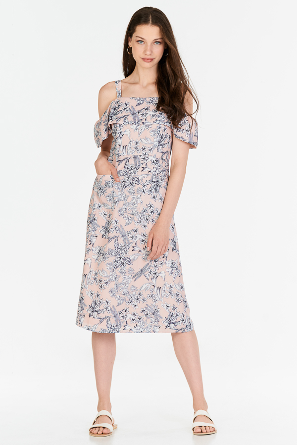 Lorena Floral Printed Midi Dress in Pink