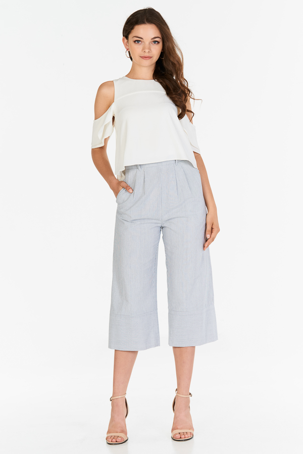 Shayna Stripes Culottes in Black