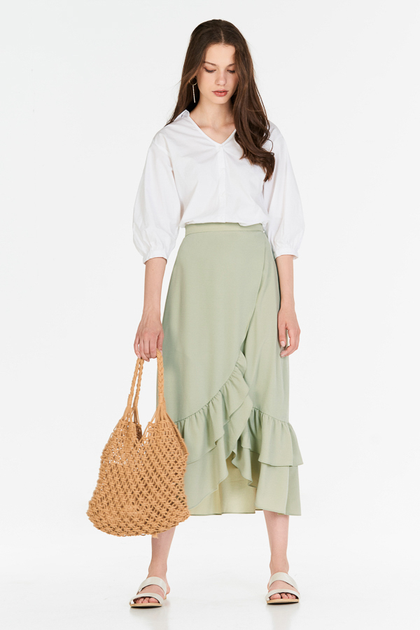 *Backorder* Alessia Midi Skirt in Spring Mint