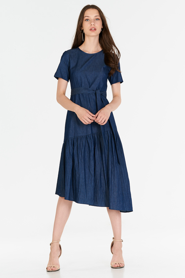 Gadia Denim Midi Dress in Dark Wash