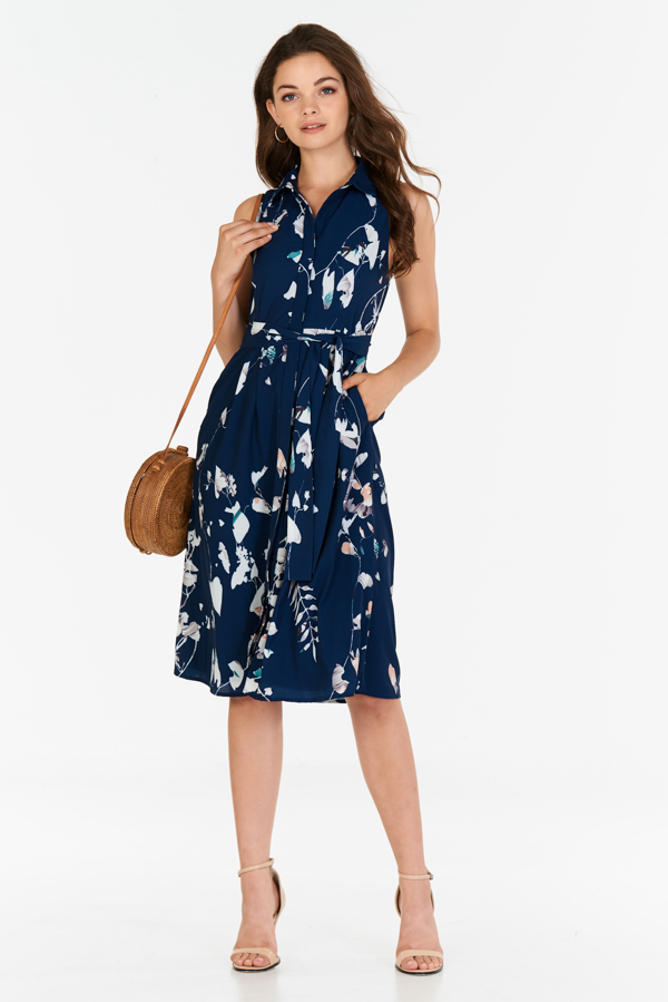 Sellene Floral Printed Midi Dress in Navy