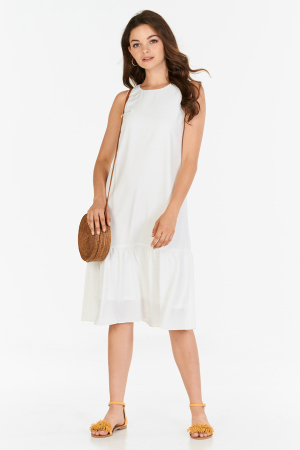 *Backorder* Sheila Midi Dress in White