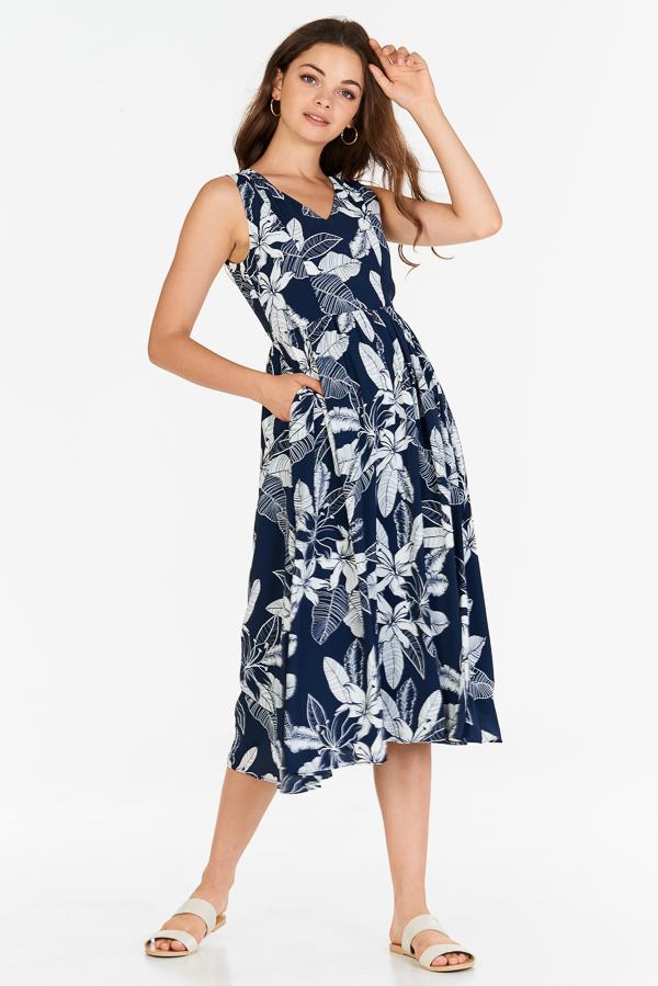 Iliana Floral Printed Midi Dress