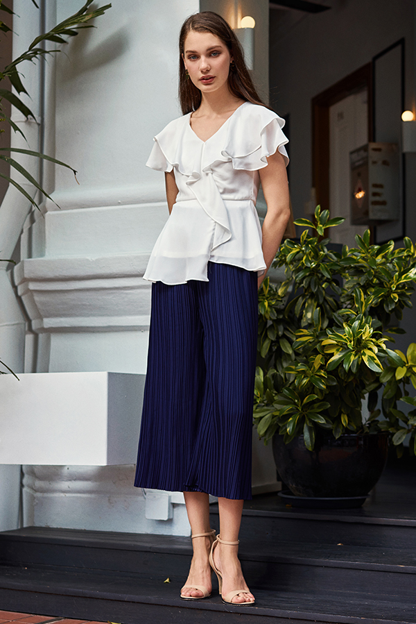 Miriam Pleated Culottes in Navy