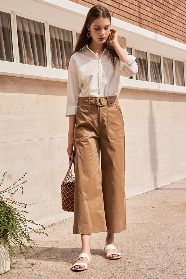 Shirlane Belted Pants in Khaki
