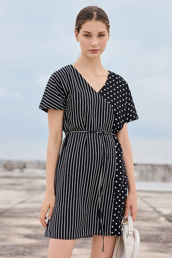 Merci Stripes Polka Dotted Sleeved Dress
