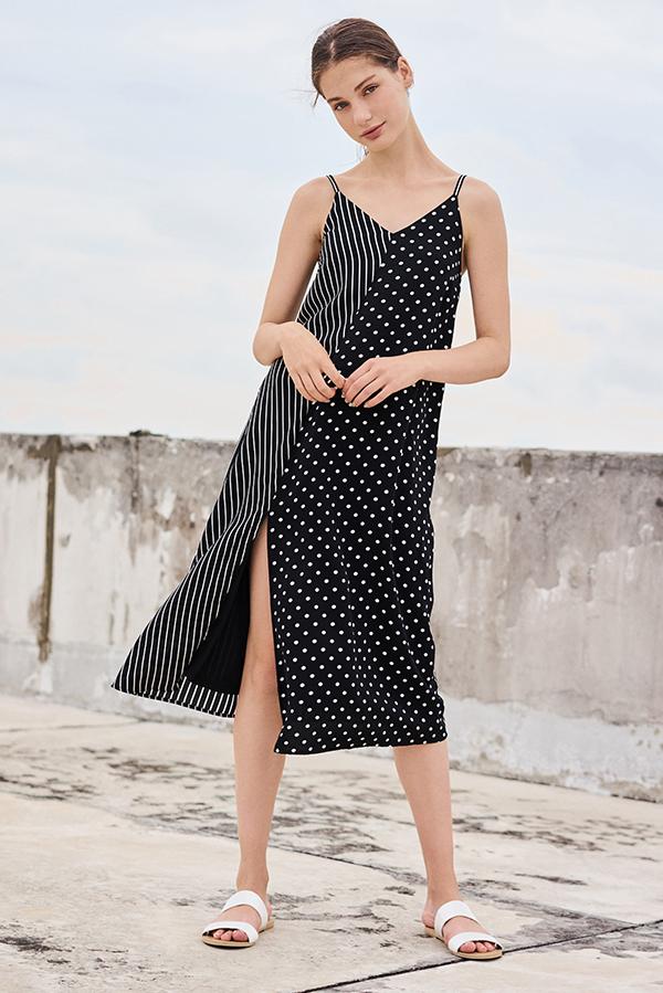 *Backorder* Merci Stripes Polka Dotted Midi Dress