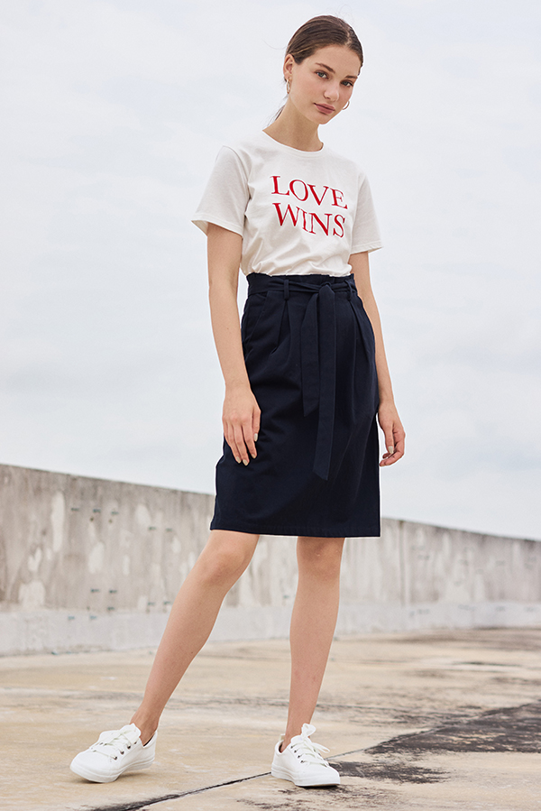 Ranise Paperbag Skirt in Navy