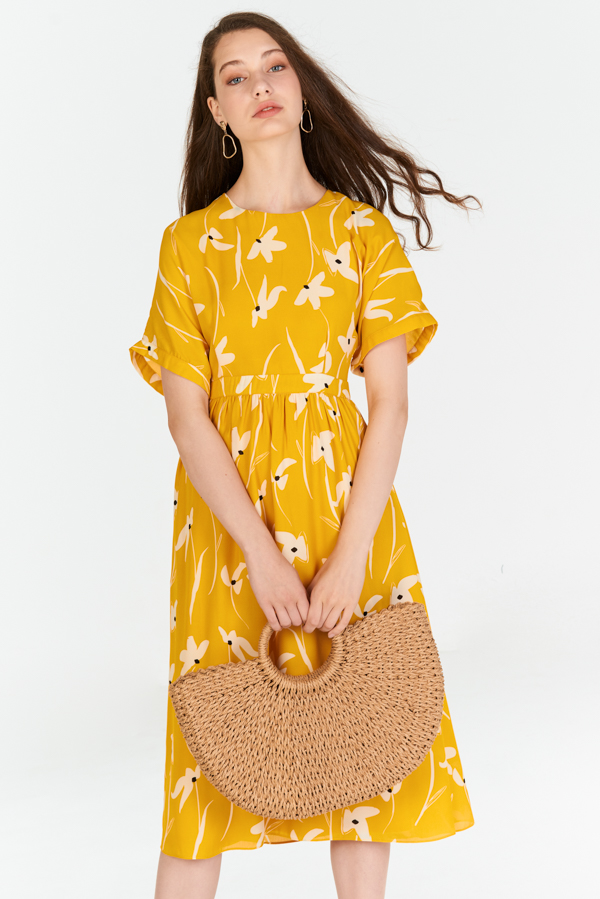 Felise Floral Printed Midi Dress in Marigold