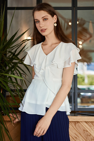 Amaya Ruffled Peplum Top in White