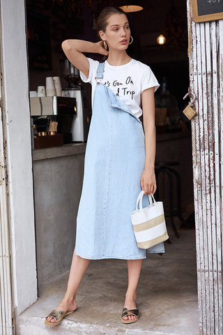 Lyra Denim Dungaree Midi Dress