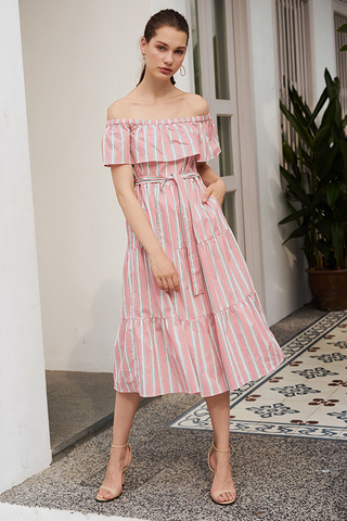 Ansley Stripes Midi Dress in Pink