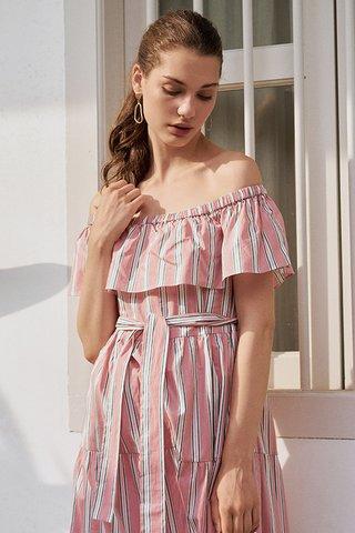 Ansley Stripes Midi Dress in Pink (XL)