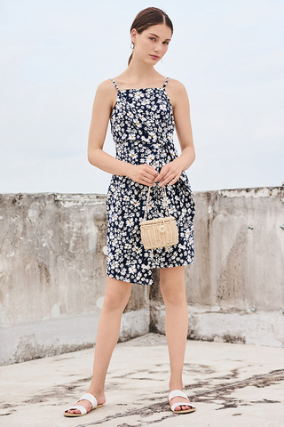 Jermaine Floral Printed Dress in Navy