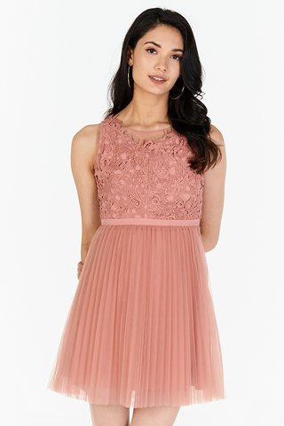 Grania Pleated Tulle Dress in Rose Pink