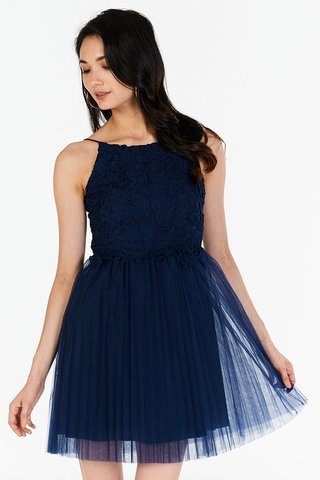 Carida Tulle Dress in Navy