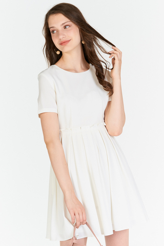 Averine Paperbag Dress in White