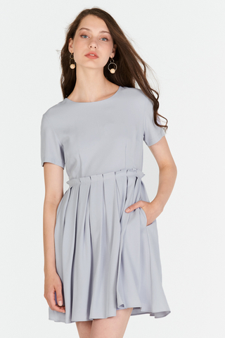 Averine Paperbag Dress in Ash Lavender
