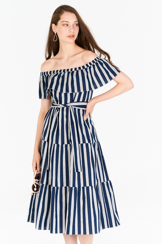 Ansley Stripes Midi Dress in Navy