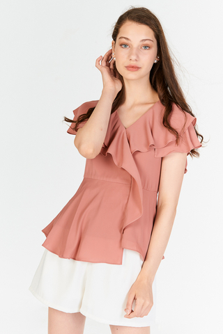 Amaya Ruffled Peplum Top in Pink