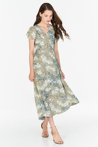 Ariel Floral Printed Midi Dress in Sage Green