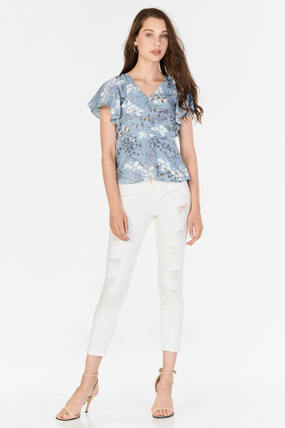 Ariel Floral Printed Peplum Top in Dusty Blue
