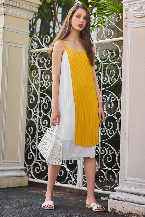 Eliana Pleated Dress in Marigold / White